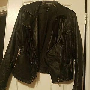 Forever 21 black fringe jacket